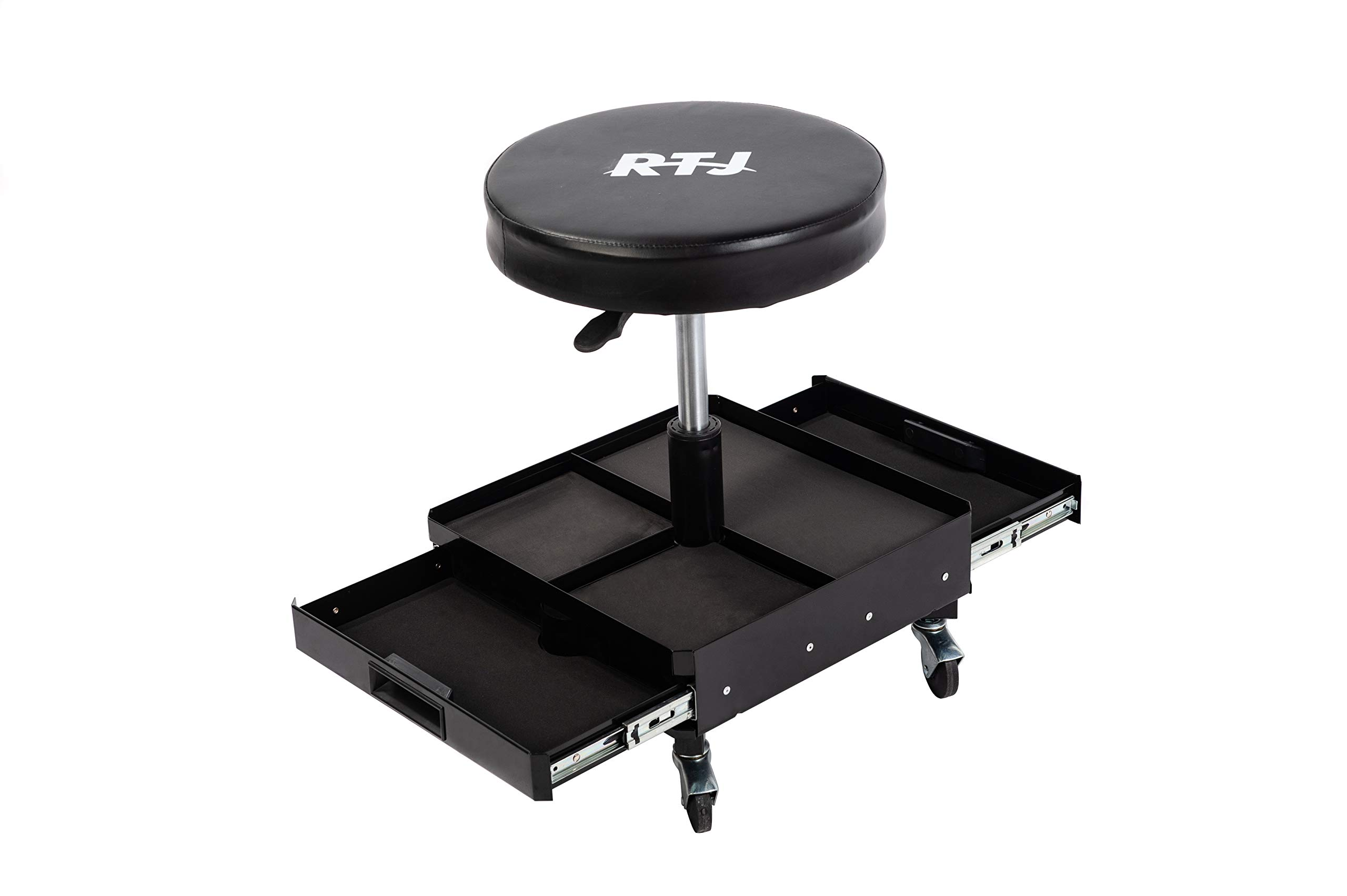 RTJ 300 lbs Capacity Pneumatic Mechanic Roller Seat Adjustable Rolling Stool -2 Drawers and Convenient Tool Tray, Black by RTJ