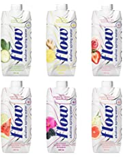 Flow Alkaline Spring Water, Natural Alkaline Water pH 8.1, Electrolytes + Essential Minerals, Eco-Friendly Pack, 100% Recyclable, BPA-Free, Non-GMO, 2 of Each Organic Flavour