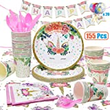 VCOSTORE Unicorn Party Supplies Set for Kids, 155 Pcs Complete Unicorn Party Decoration Kit Serving 20, Disposable Value Tableware Set with Balloons/Napkins/Plates/Cups/Utensils/Banners for Girls