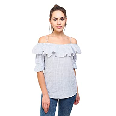 3ae22989722617 MansiCollections Stripped Ruffle Cold-Shoulder Top for Women  Amazon.in   Clothing   Accessories