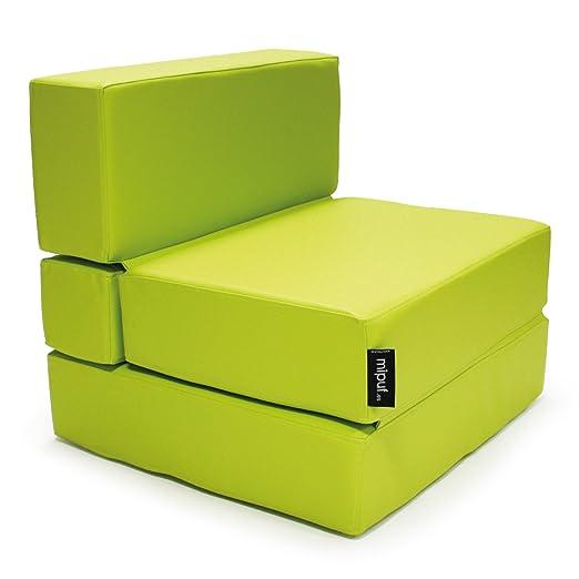 MiPuf - Sofá Puf Cama Plegable - 190x80x20 cm - Tejido Polipiel Alta Resistencia - Doble Costura - Interior Foam Alta Densidad - Verde - 4 años de ...