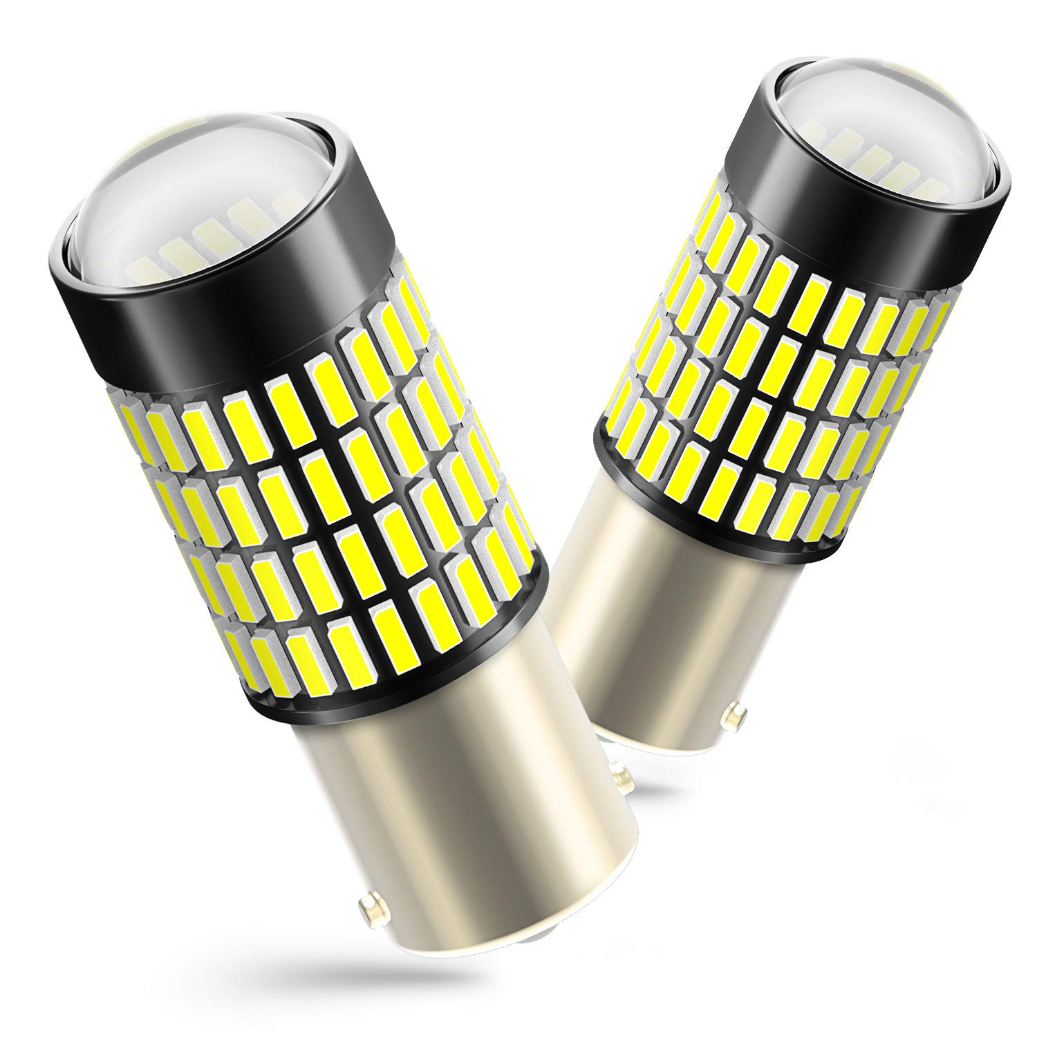 1156 Reverse Light LED Bulbs, AUXITO 1400 Lumens Super Bright Wedge 4014 102-SMD LED Chipsets 1141 1073 7506 LED Bulbs with Projector for Backup Reverse Lights,6000K Xenon White