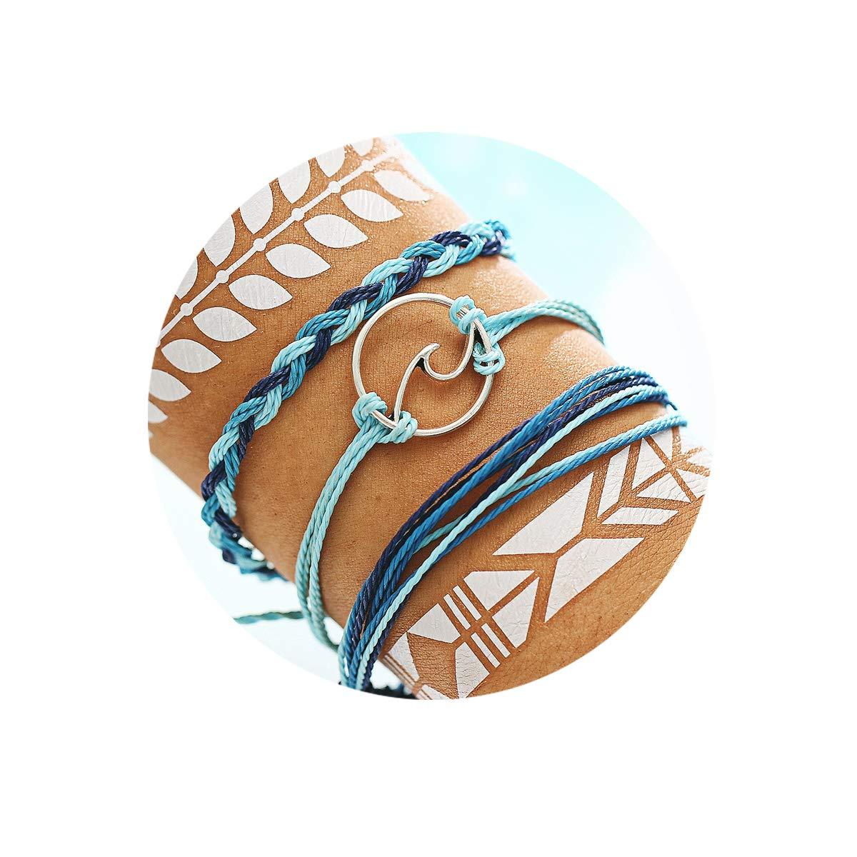 FINETOO Wave Strand Bracelet Set Handmade Waterproof Wax Coated Braided Rope Boho Woven Bracelet Women