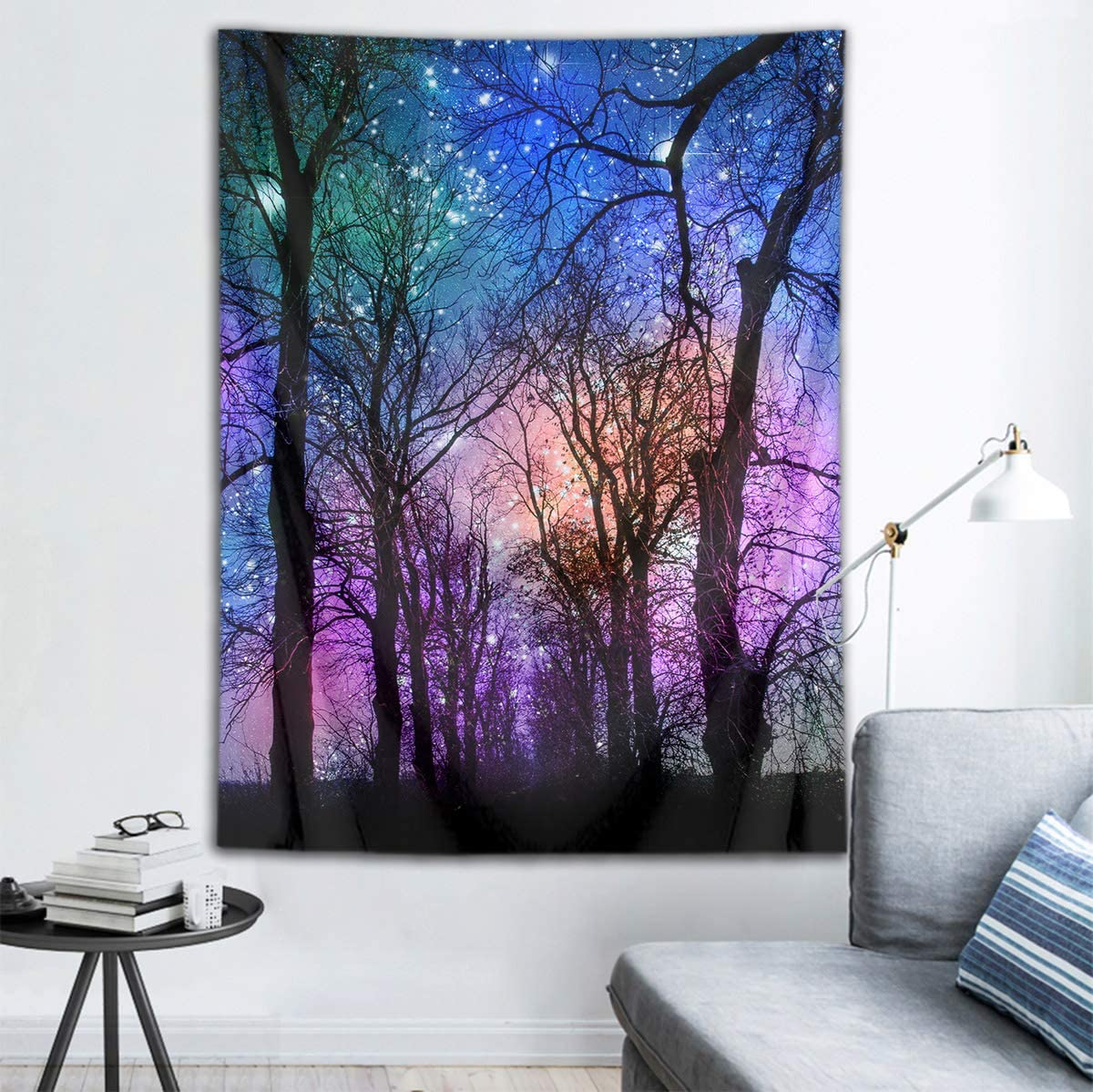 HVEST Psychedelic Forest Tapestry Wall Hanging Dreamlike Starry Sky Wall Tapestry Spring Night Scenery Tapestries for Bedroom Living Room Dorm Party Decor,40Wx60H inches