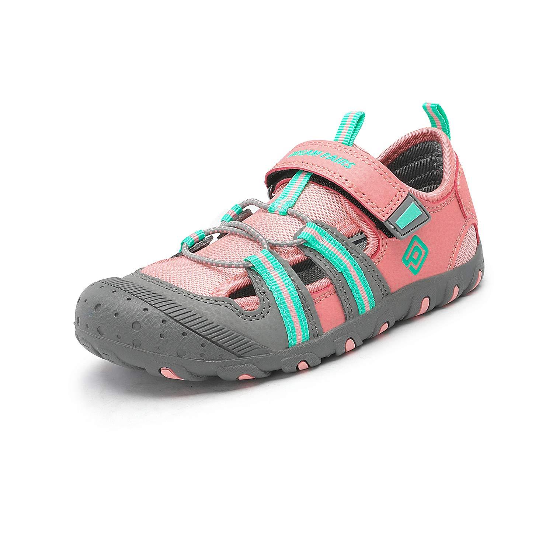 DREAM PAIRS Boys Girls 181106K Pink Grey Mint Closed-Toe Outdoor Summer Sport Sandals Size 12 M US Little Kid