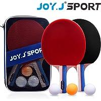 Joy.J Tischtennisschläger, Pingpong-Schläger Set mit 2 Schläger und 3 Bällen, Tischtennis-Schläger für Anfänger