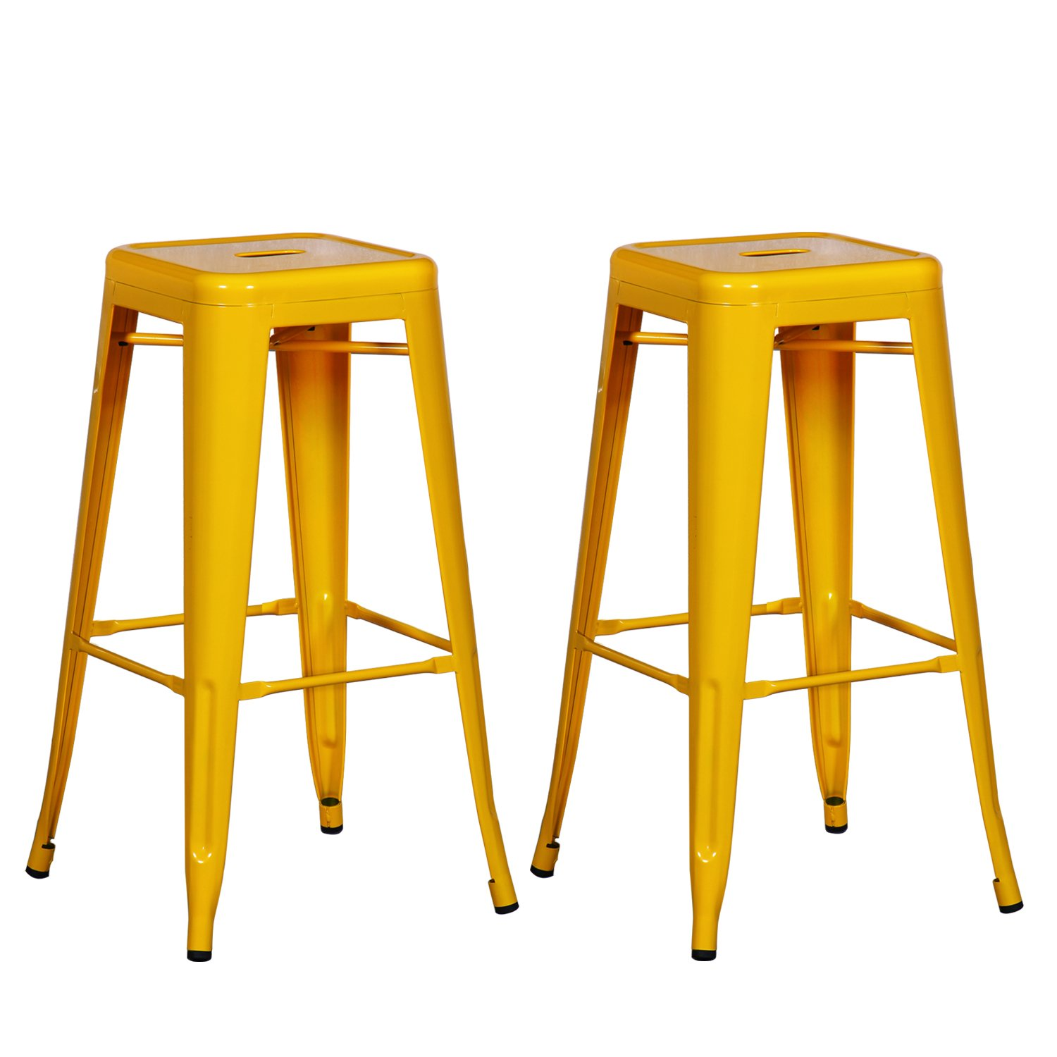 Patio Industrial Bar/Counter Stools 30 inches---- Homebeez Best Selling Metal Tolix Style Chair/ Stools Set of two (Yellow)
