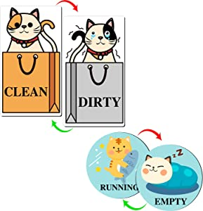 Dishwasher Magnet Clean Dirty Sign Empty Running Flip Sign Cat Reversible Double Sided Dishwasher Magnet Washer Reversible Indicator Kitchen Label (4)