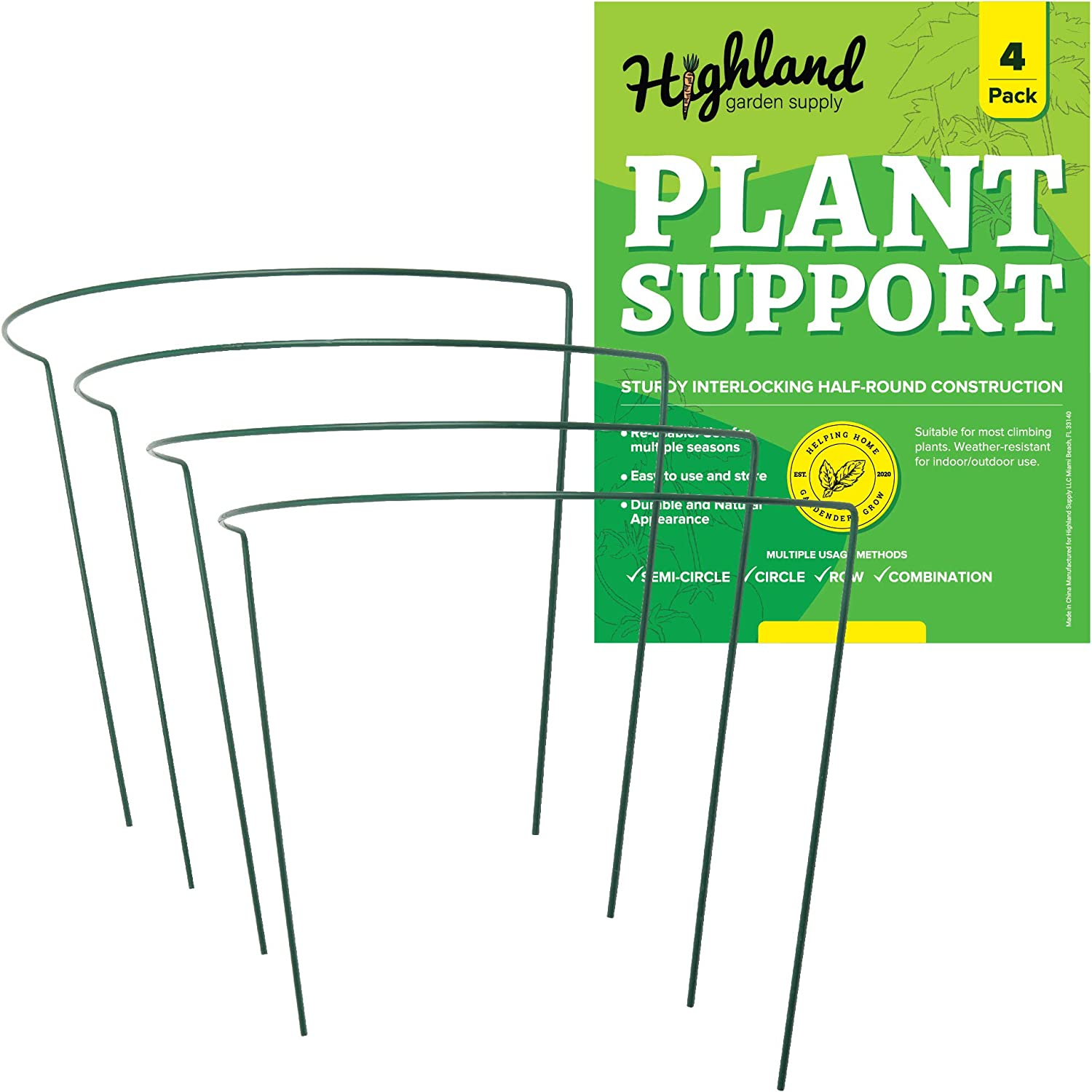 """4 Pack Large Plant Support Stakes Half Round Ring Garden Trellis Indoor and Outdoor (Jumbo 18"""" W x 13"""" H)"""