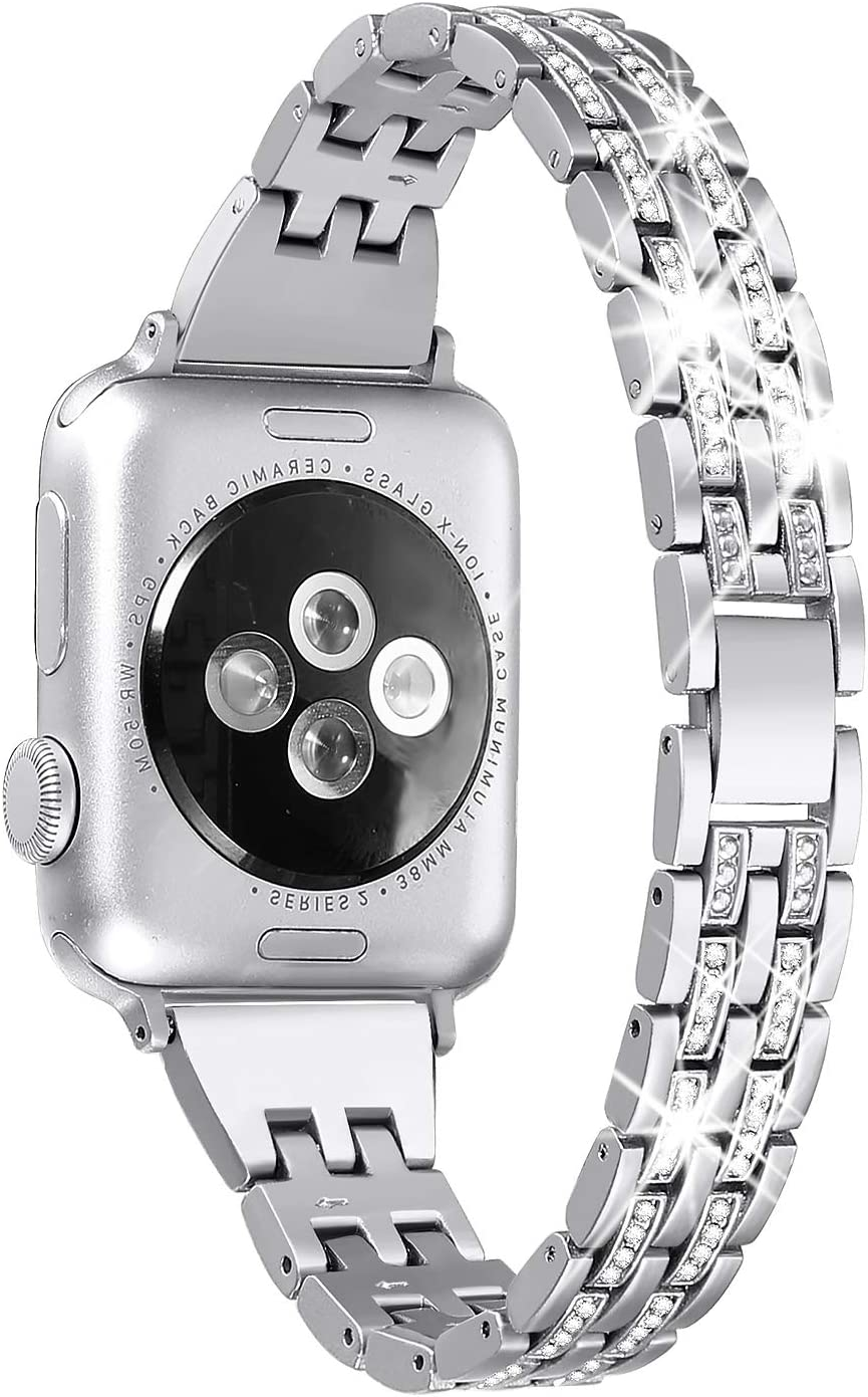 Secbolt Bling Bands Compatible Apple Watch Band 38mm 40mm Women iWatch Series 6 5 4 3 2 1 SE, Dressy Jewelry Metal Wristband Strap Diamond Rhinestone, Silver