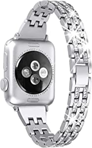 Secbolt Bling Bands Compatible Apple Watch Band 42mm 44mm Women iWatch Series 6 5 4 3 2 1 SE, Dressy Jewelry Metal Wristband Strap Diamond Rhinestone, Silver
