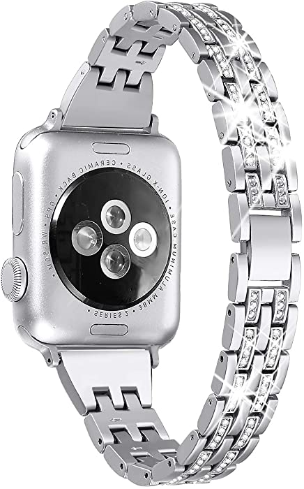 Secbolt Bling Bands Compatible Apple Watch Band 38mm 40mm Women iWatch Series 6 5 4 3 2 1 SE, Dressy Jewelry Metal Wristband Strap Diamond Rhinestone, Silver
