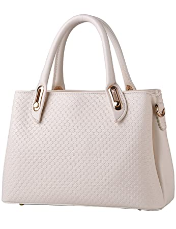 0be1a95f1b41 Women s PU Leather Top Handle Satchel Bags Cream  Amazon.co.uk  Luggage
