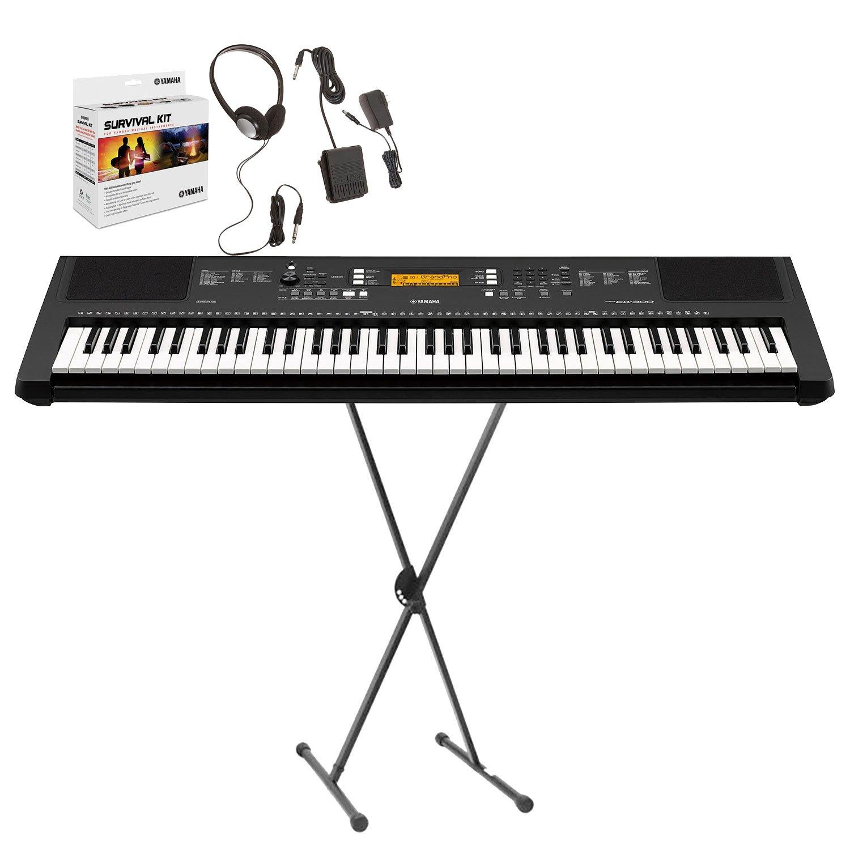 Yamaha PSREW300 76-Key Portable Keyboard with Yamaha Adjustable X-Style Stand and Yamaha SKB2 Survival Kit in Black