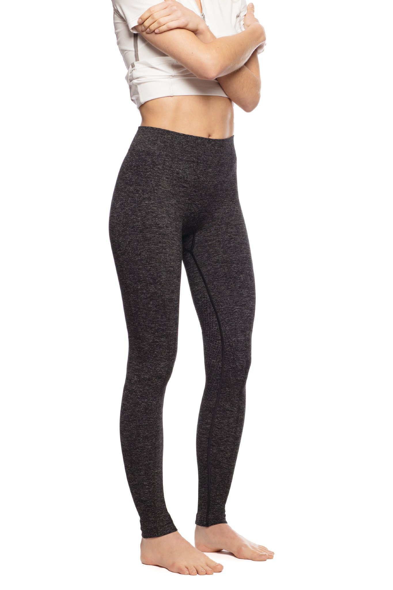 Goode Rider Bodysculpting Seamless Tights Knee Patch Charcoal Heather XS