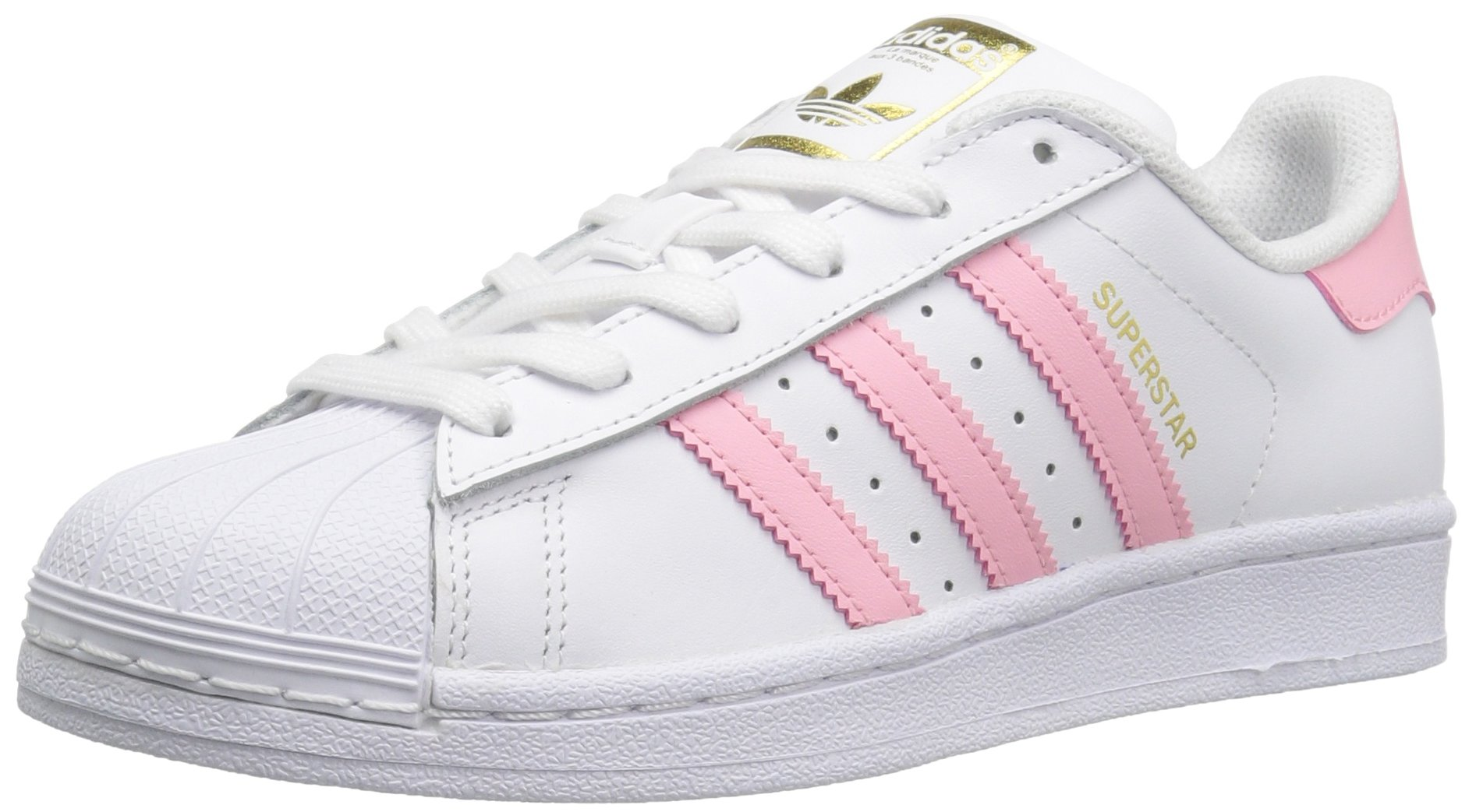 adidas Originals Boys' Superstar Foundation J Sneaker, White/Clear Light Pink Metallic/Gold, 4.5 M US Big Kid