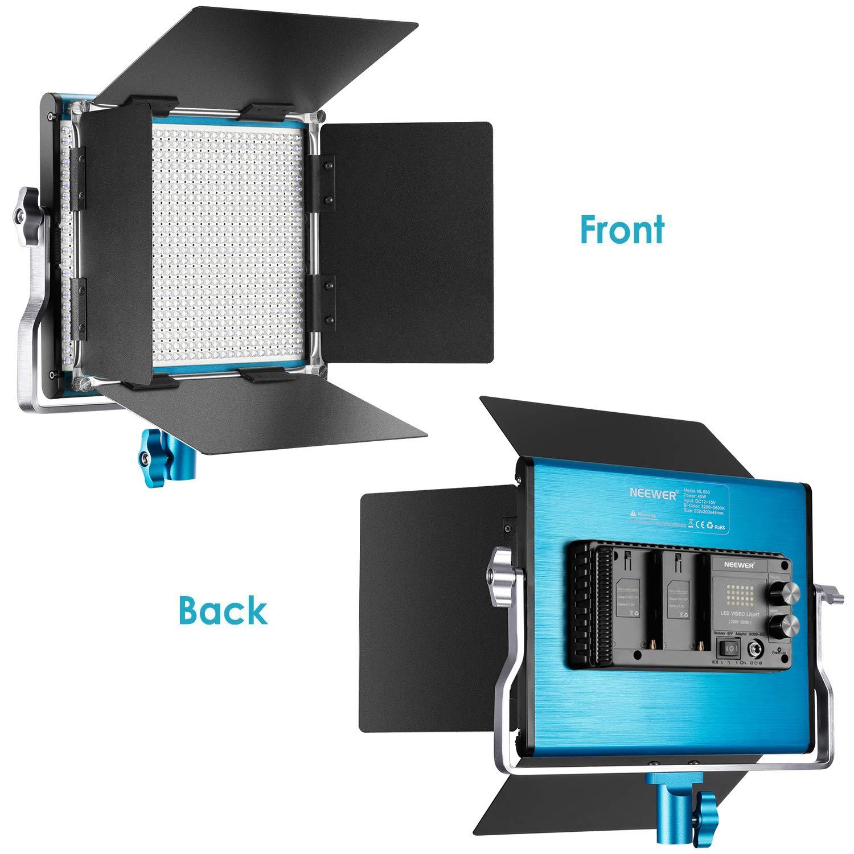 Neewer 3-Pack 660 Led Video Luz Regulable Bi-Color con Parasol Y 1,83Cm Soporte De Luz,6-Pack 6600Mah Bater/ía Li-Ion Recargable Y Cargador para Fotograf/ía Estudio Youtube Video Rojo//Negro