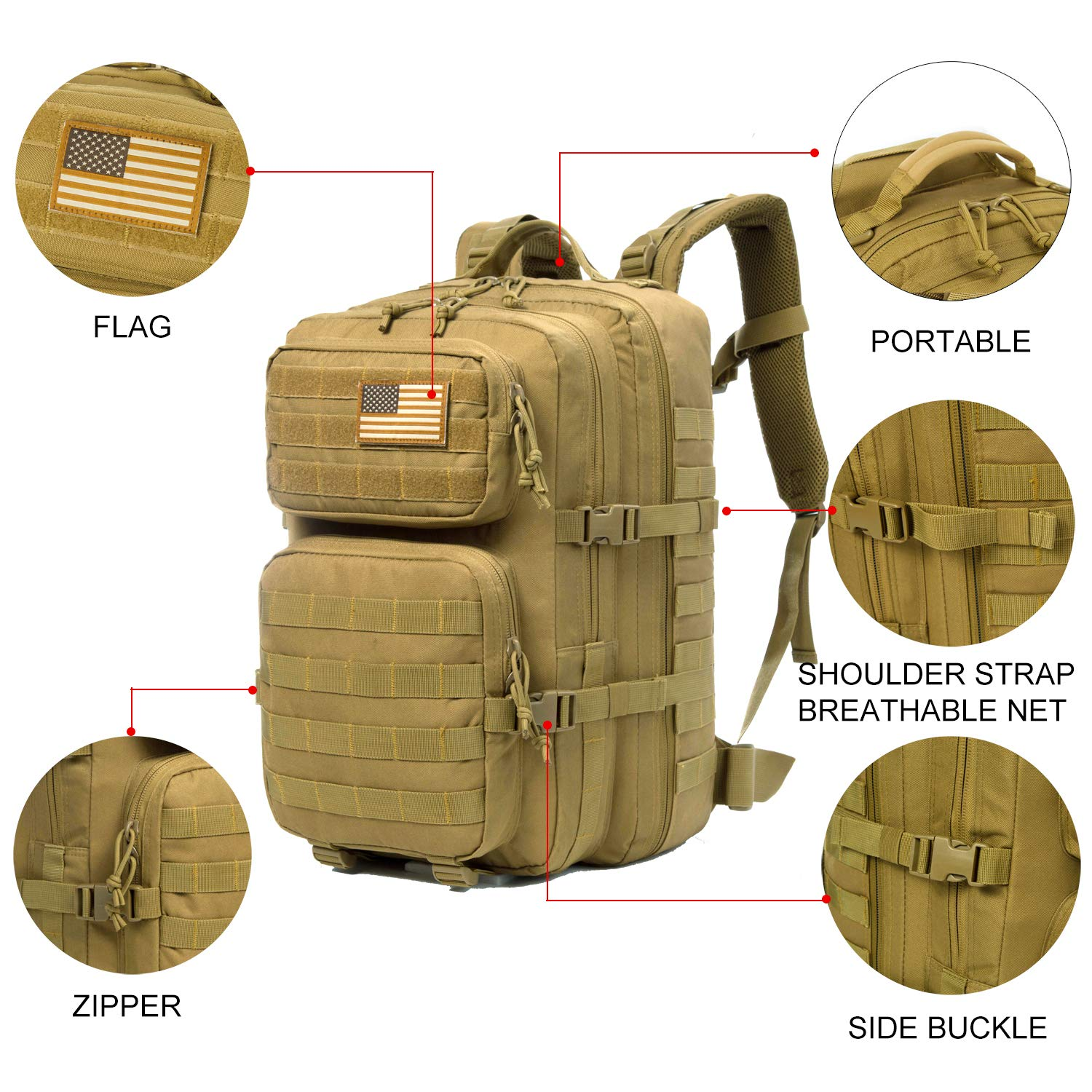 J.CARP Military Tactical Backpack Large 3 Day Assault Pack Army Molle Bug Out Bag, Brown