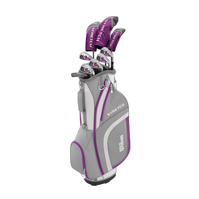 Wilson, Set completo para principiantes, 9 palos de golf con carro, Mujer (mano derecha) Stretch XL, Blanco/Gris/Violeta, WGG157554