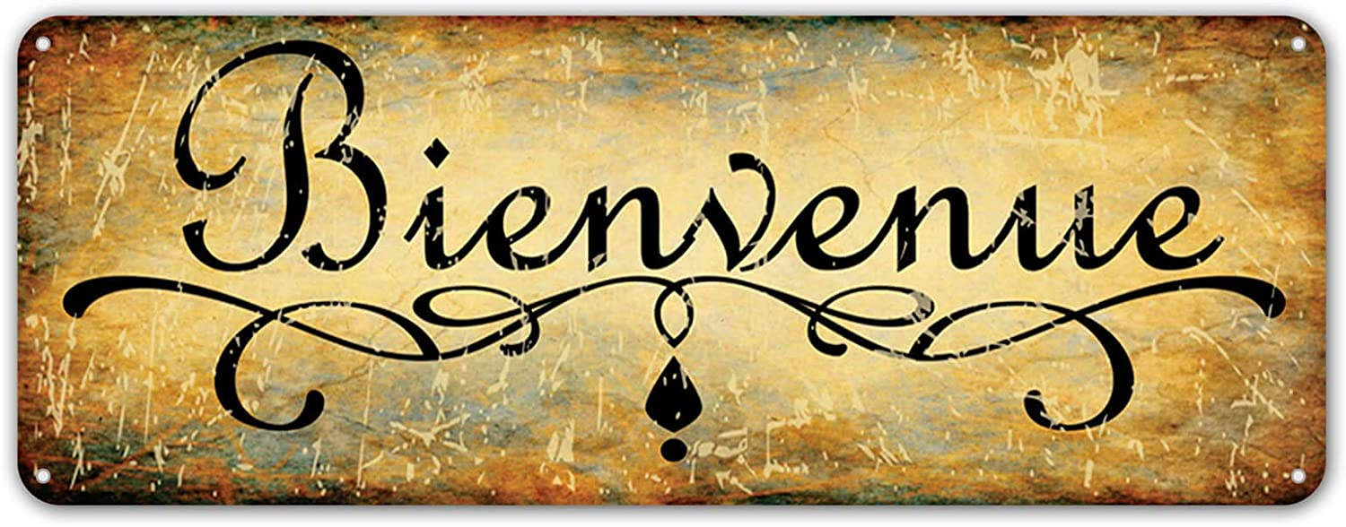 ZYPENG Bienvenue Vintage Style Metal Tin Signs Wall Decor, Decorative Coffee Bar Sign 16 x 6 inches