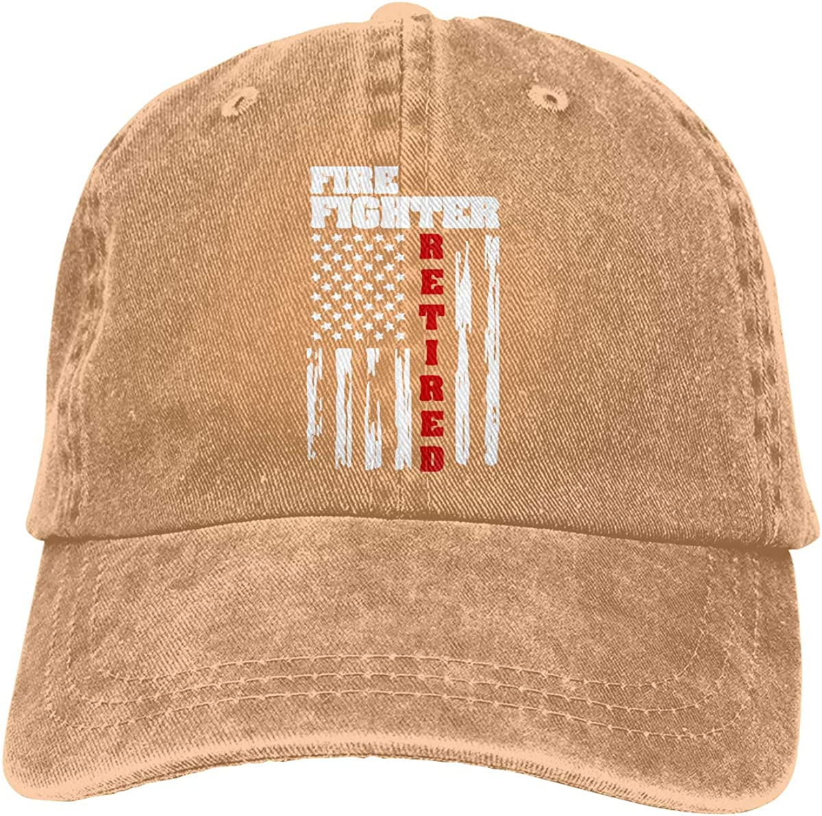 Distressed American Flag Unisex Trendy Denim Hip Hop Cap Adjustable Baseball Cap PMGM-C Fire Fighter Retired