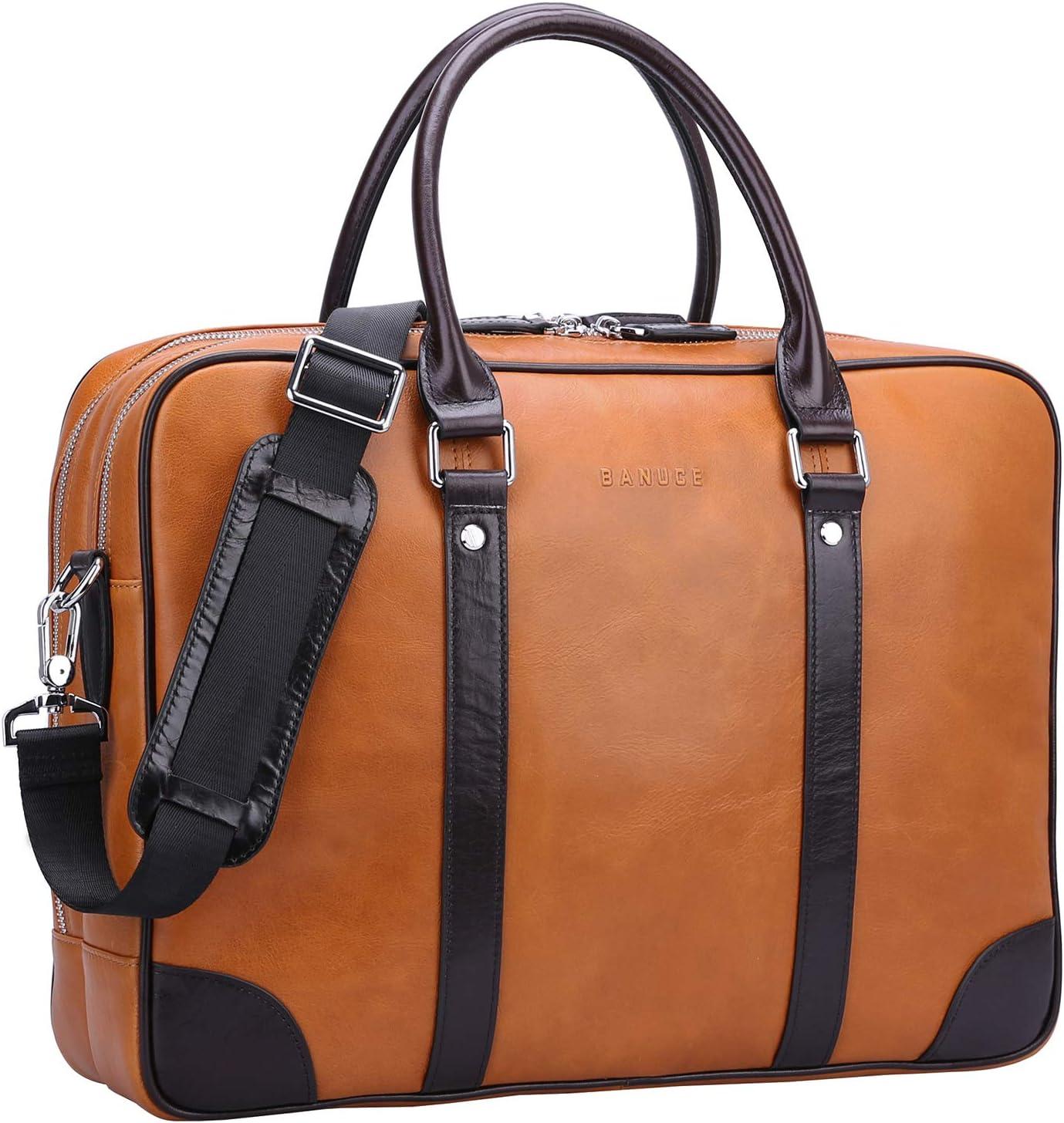 Banuce Full Grains Oil-Waxed Leather Briefcase for Men 14 inch Laptop Bag Attache Case Business Tote Handbags Shoulder Messenger Bag