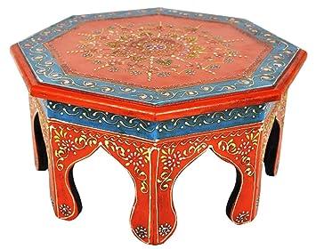 Jaipuri Handpained Ethnic Round Wooden Puja Chowki Table 12 X 12 X 6 Inches