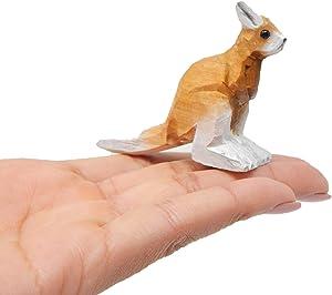 Kangaroo Figurine Statue Decoration Small Baby Art Sculpture Wood Carving Miniature