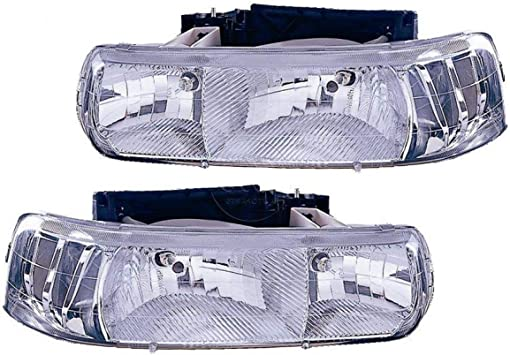 Itasca Sunstar 2007-2009 RV Motorhome Pair Diamond Clear Front Headlights with Bulbs Left /& Right