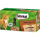 Kitekat Katzenfutter Frischebeutel Mix, Jagdschmaus in Sauce, Nassfutter Multipack für Katzen, 48 x 100 g Portionsbeuteln, Ente, Kaninchen, Kalb, Truthahn