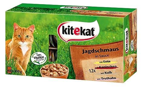 Kitekat Mezcla de Bolsa Fresca para Comida para Gatos, Banquete de Caza en Salsa,