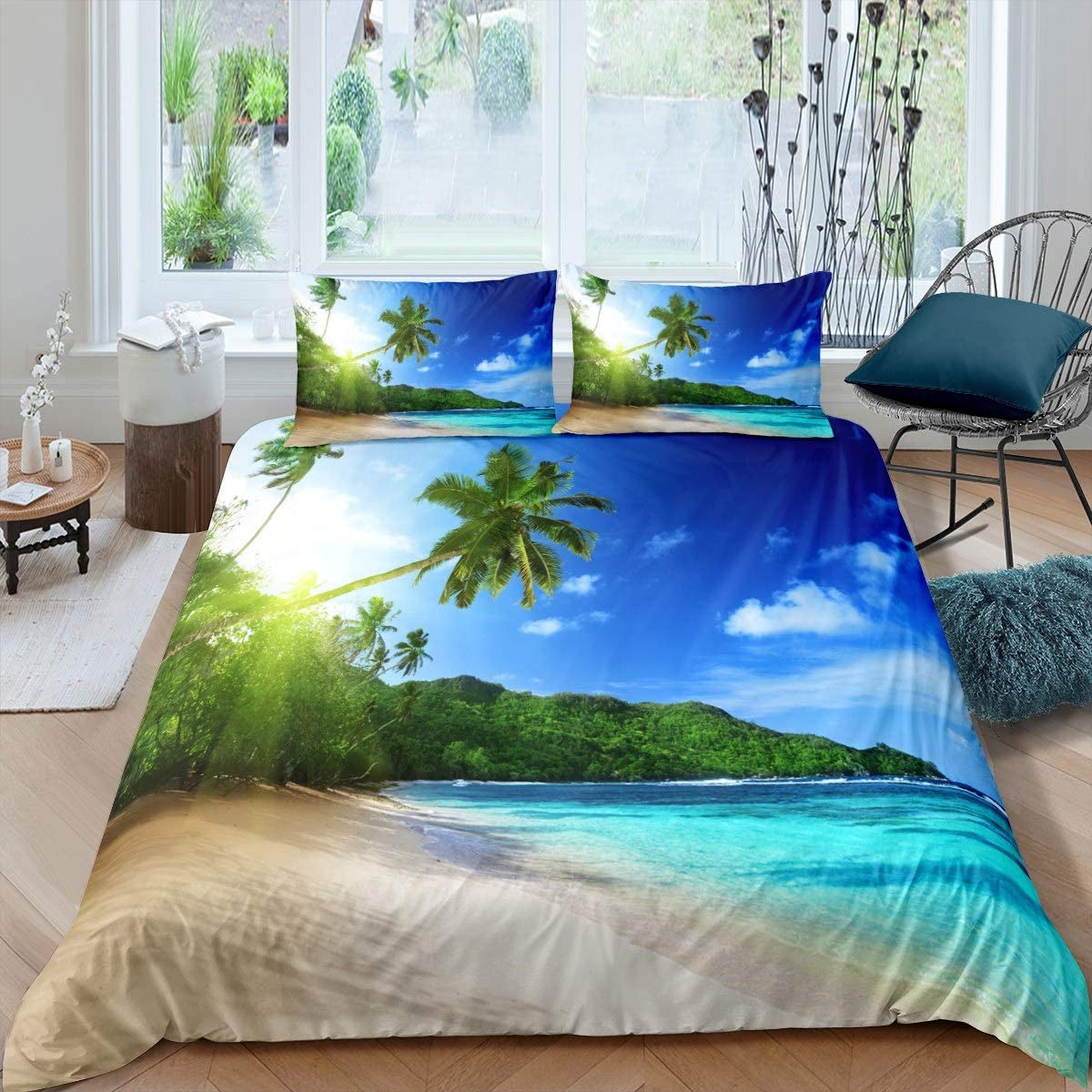 Amazon Com Feelyou Ocean Beach Themed Bedding Set For Kids Boys Girls Teens Summer Hawaiian Duvet Cover Sea Printed Tropical Nature Pattern Comforter Cover Palm Tree Printed Bedspread Cover King Size Home