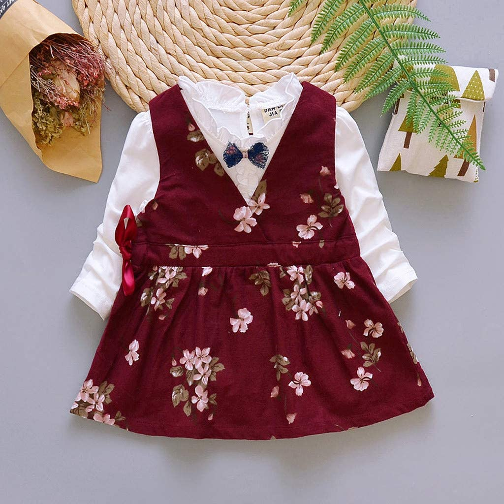 LuckyBB Toddler Kids Baby Girls Floral Suspender Skirt Bow 2PC Sets Outfits Clothes