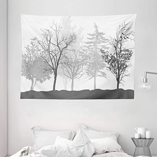 Ambesonne Nature Tapestry, Silhouette of Trees Forest Freshness Themed Woodland Branches Image, Wide Wall Hanging for Bedroom Living Room Dorm, 80 X 60 , Grey White