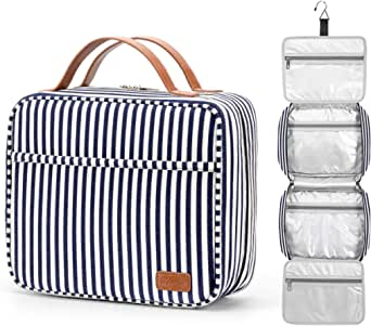 Hanging Travel Toiletry Bag,Large Capacity Cosmetic Travel Toiletry Organizer for Women with 4 Compartments & 1 Sturdy Hook,Perfect for Travel/ Daily Use/ Christmas