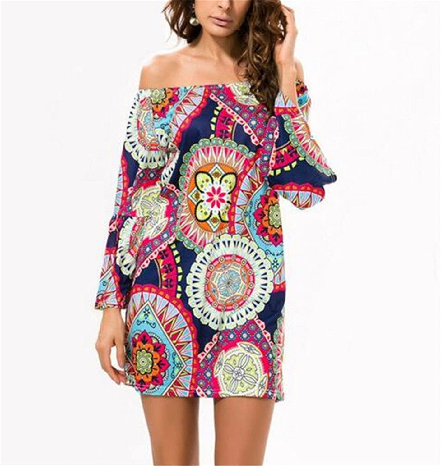 Robin Santiago Summer Dress Print Beach Vintage Sexy Female Vestidos De Festa Casual Women Robe Party Dresses at Amazon Womens Clothing store: