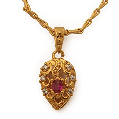 Buy radhas creations ruby american diamond pendant bead chain radhas creations ruby american diamond pendant bead chain length 18 inches one gram gold plated for aloadofball Images
