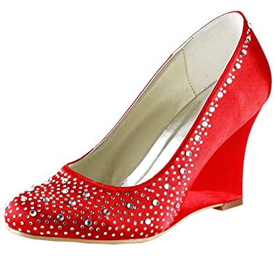 Kevin Fashion Damen Hochzeitsschuhe Rot Rojo Style1 Red