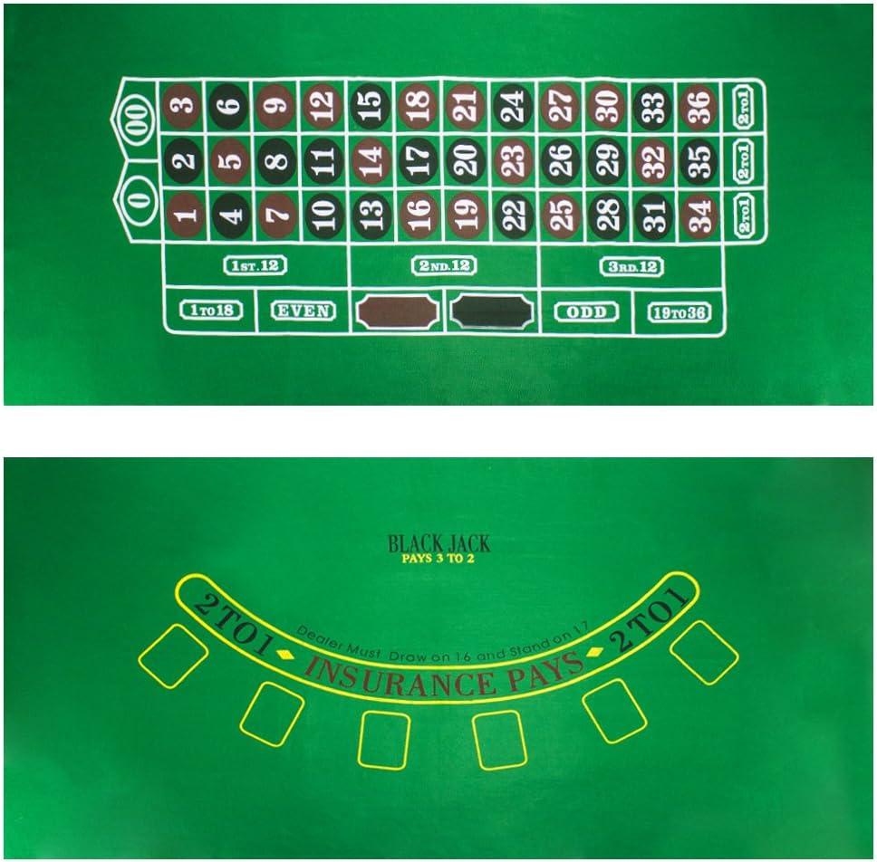 Blackjack and Roulette Table Felt