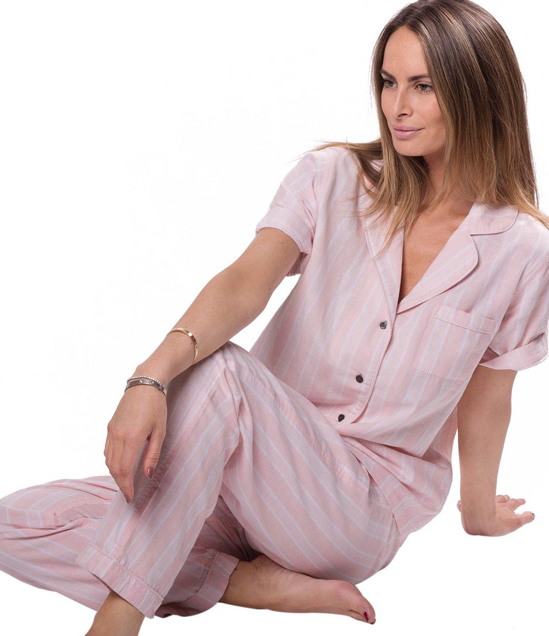 Naked Women's Double Gauze Cotton Pajama Set, Belair Blush Pin Stripe, Extra Small