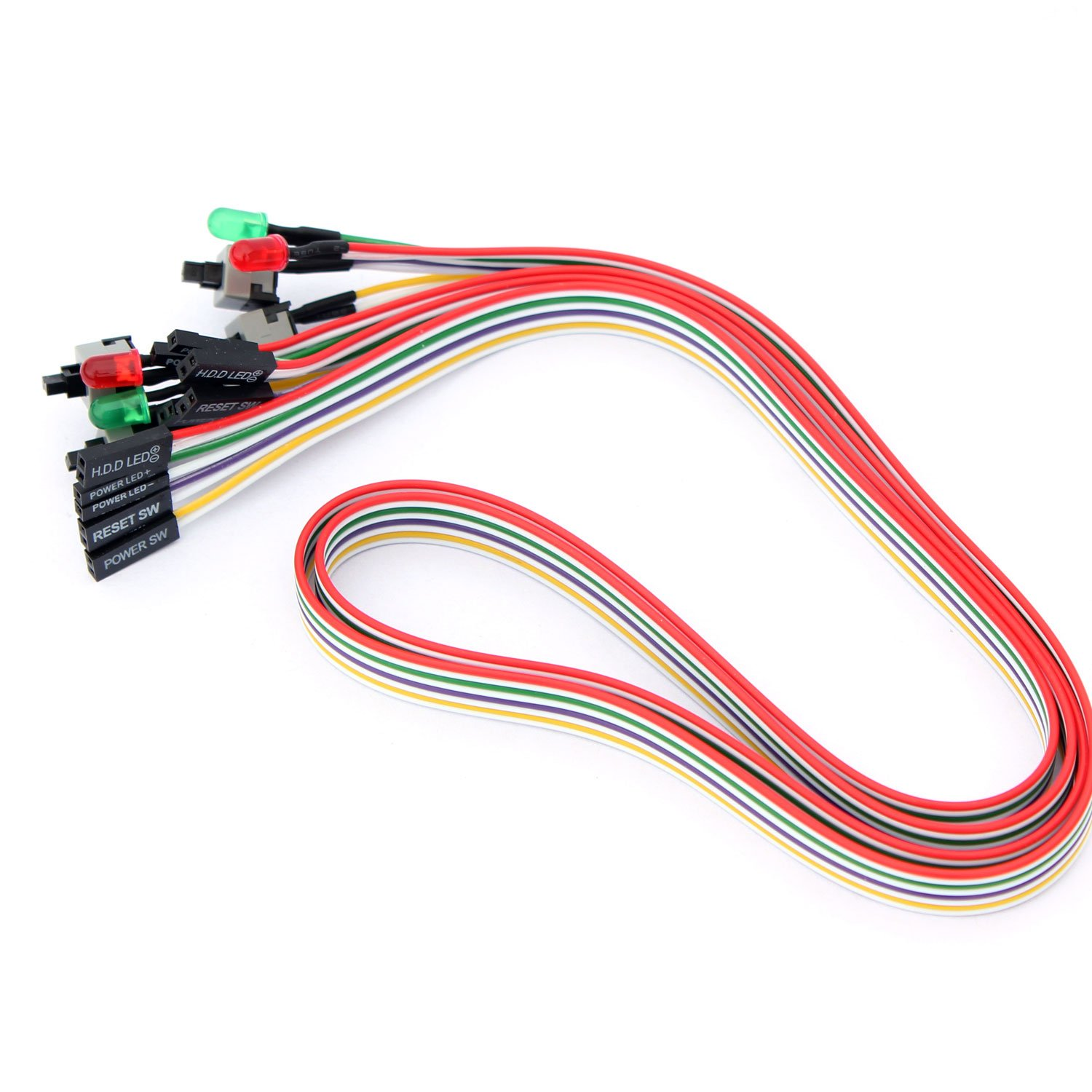 56tiankoou 2pcs Pc Power Reset Switch Hdd Led Cable Wiring In Parallel Leds Electronics