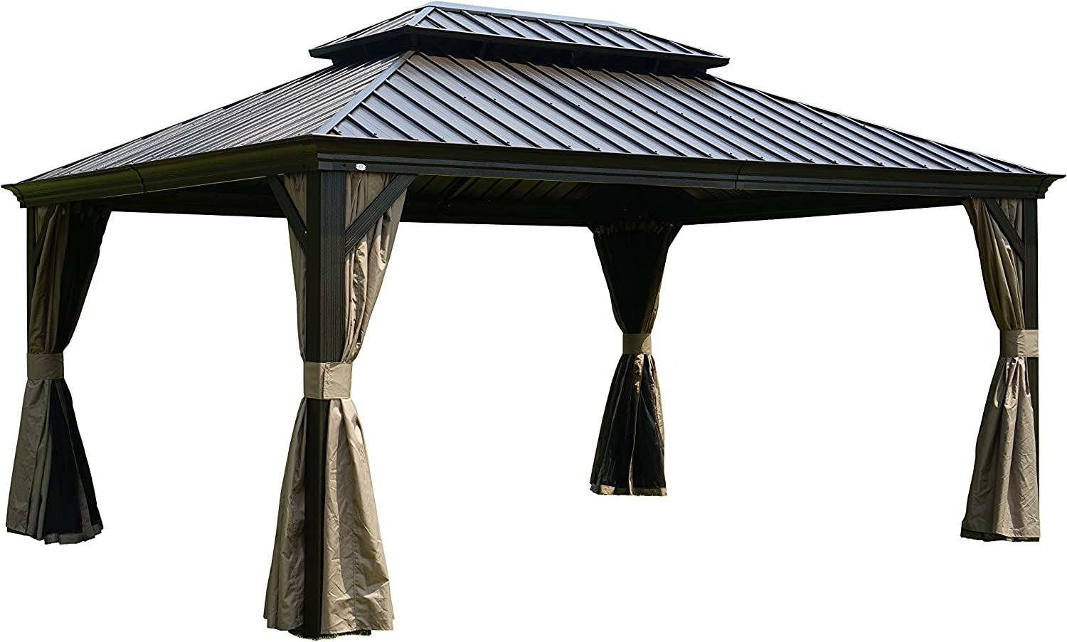 Kozyard Alexander Hardtop Aluminum Permanent Gazebo with a Mosquito Net and Privacy Sidewalls Alexander 12 x16