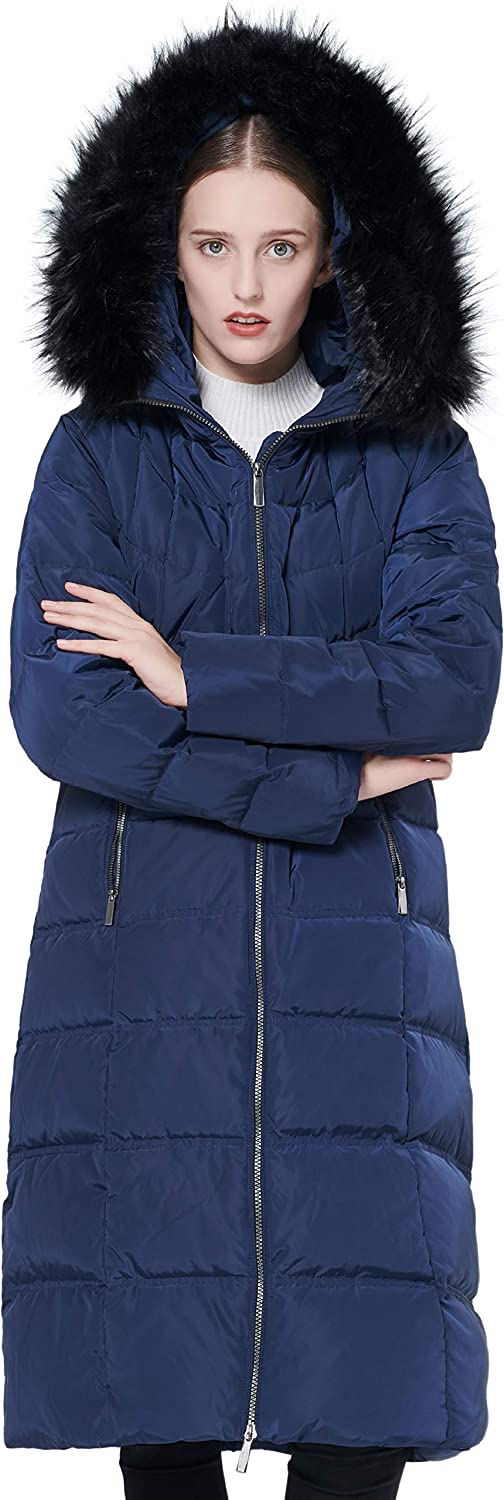 Orolay Women's Thickened Down Jacket Maxi Winter Long Coat with Fur Hood