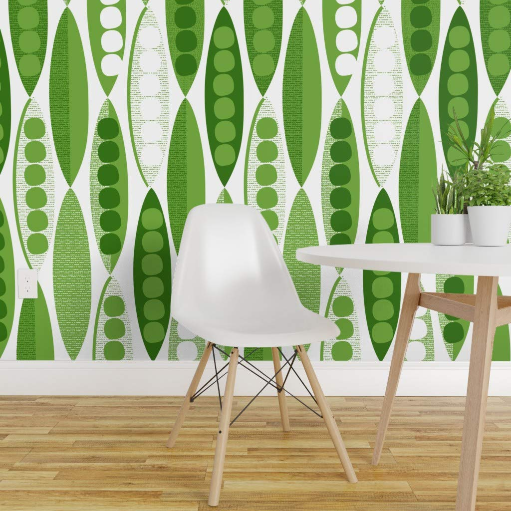 Spoonflower Peel and Stick Removable Wallpaper, Mod Peas in A Pod Vintage Mid Century Modern Kitchen Decor Pea Peapod Modernist Green Vegetable Print, Self-Adhesive Wallpaper 24in x 108in Roll