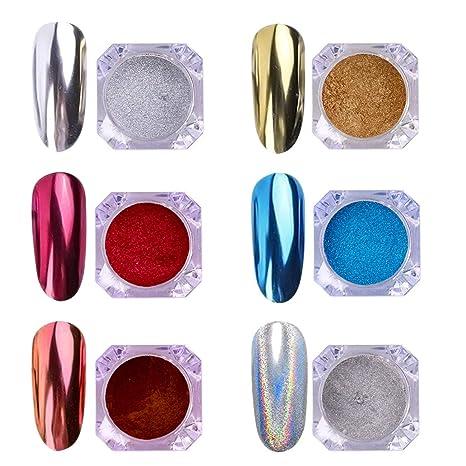 Aimeili 6 Colors Polvo Acrilico Para Uñas Colores Esmalte Uñas Efecto Espejo Arte De Uñas Cromo Pigmento Holográfica Manicura Decoración Chrome Laser
