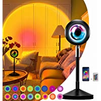 Sunset Projection Lamp LED Sunlight Lamp 16 Colors Projection Rainbow Lamp, 180°Romantic Visual HD Sunset Lamp with APP…