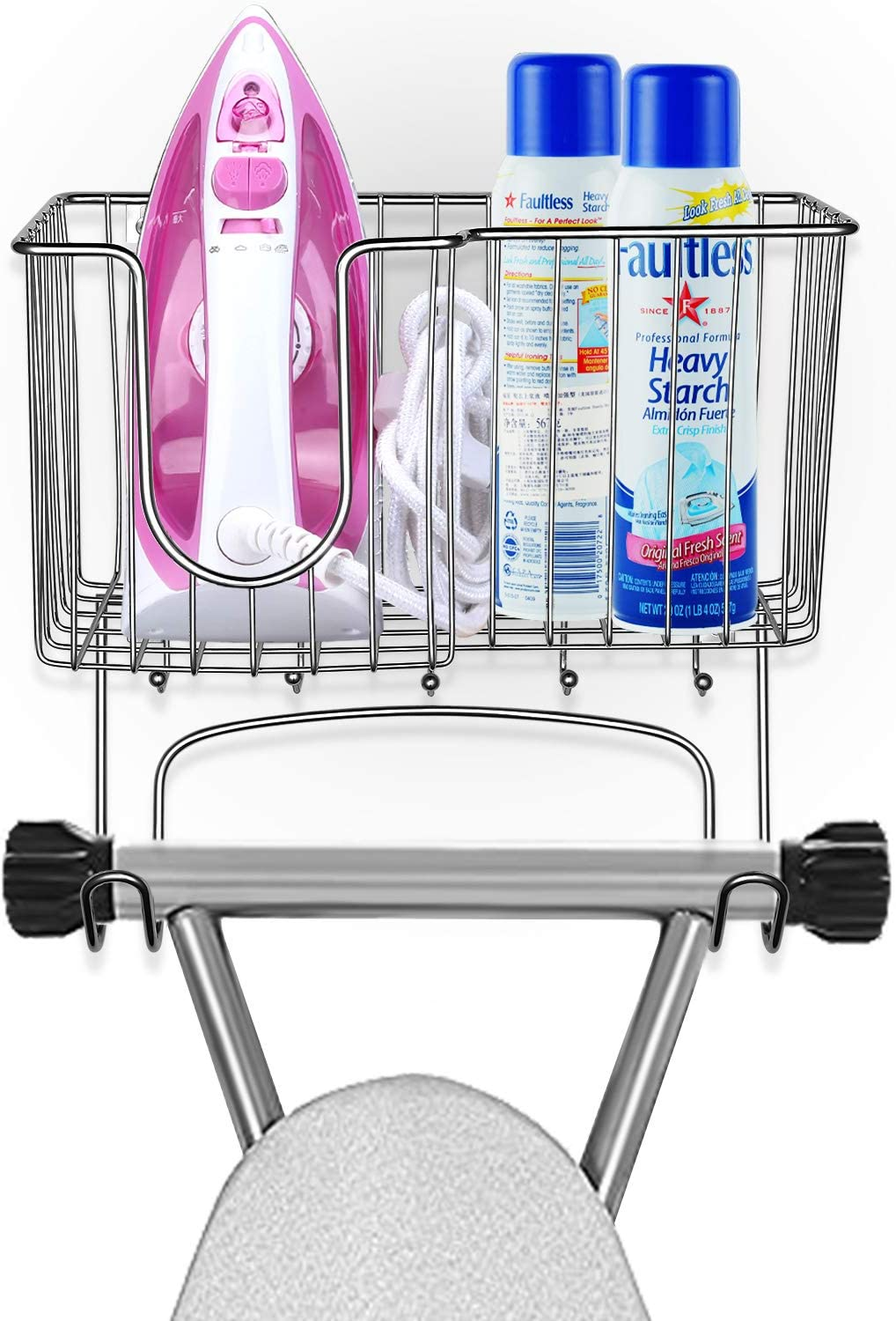 SPACEREST Metal Ironing Board Holder Wall Mounted Ironing Board Hanger with Large Storage Basket & 5 Hanging Hooks for Laundry Rooms-Iron, Board, Spray Bottles Rack- Chrome