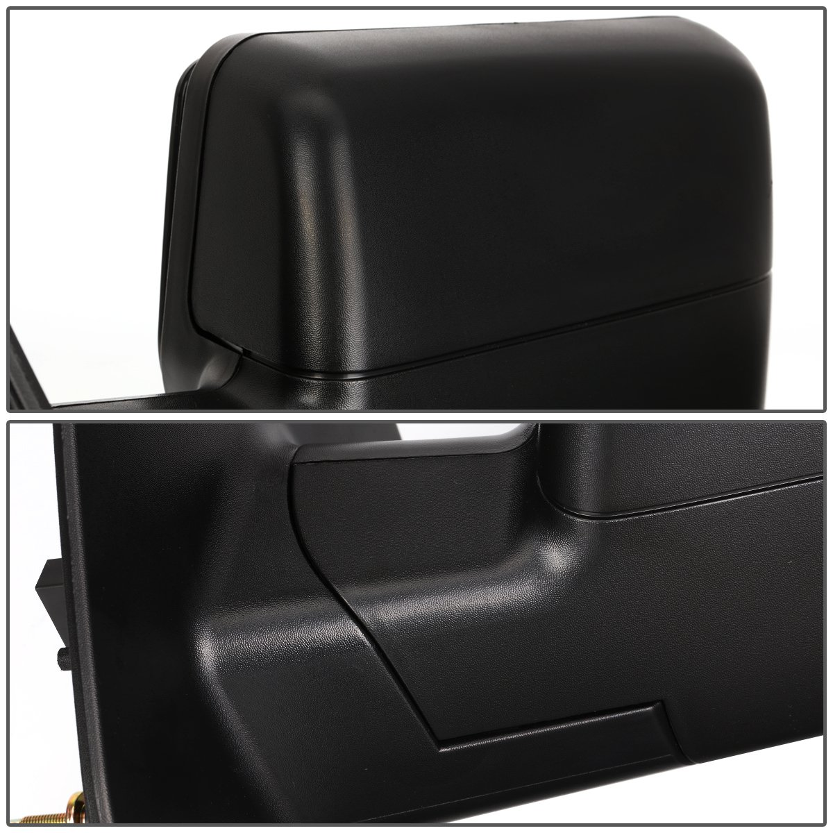 Left//Driver For Ford F150 Black Textured Telescoping Manual Folding Side Towing Mirror