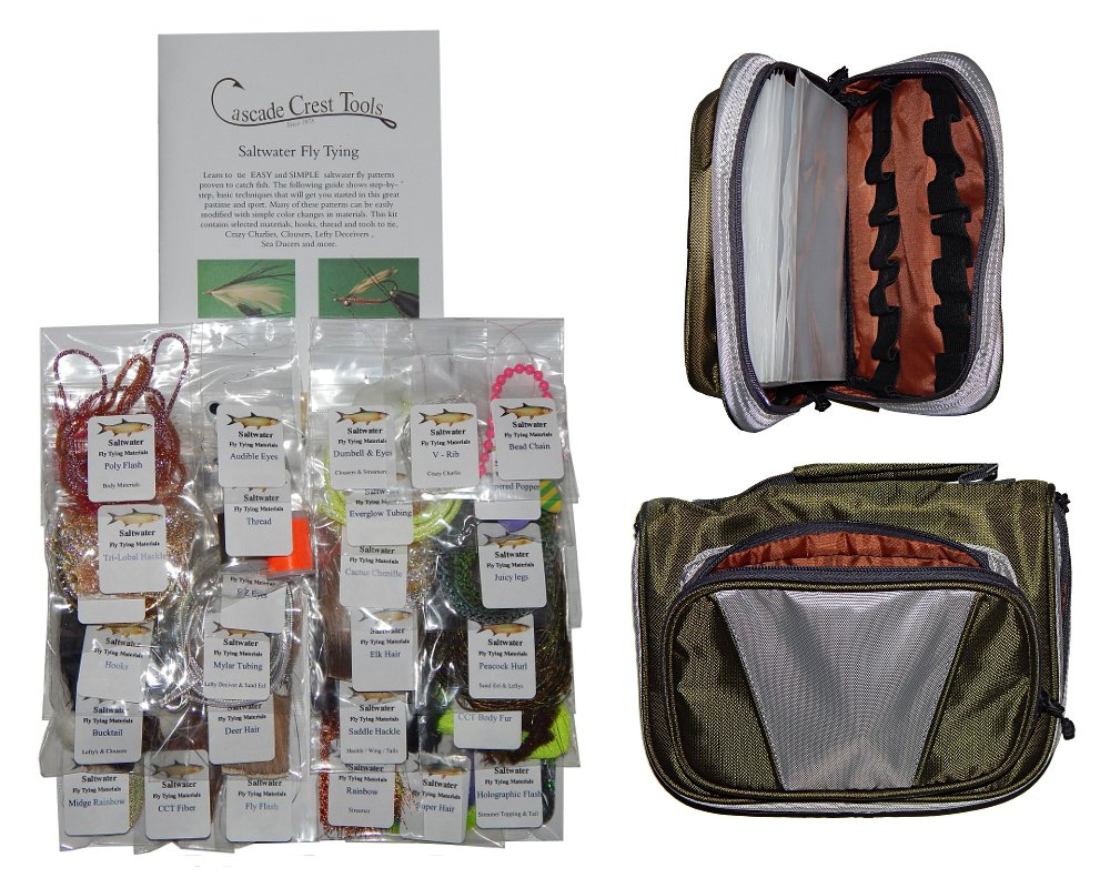Cascade Saltwater Fly Tying Material Kit with Essentials Tying Materials Bag