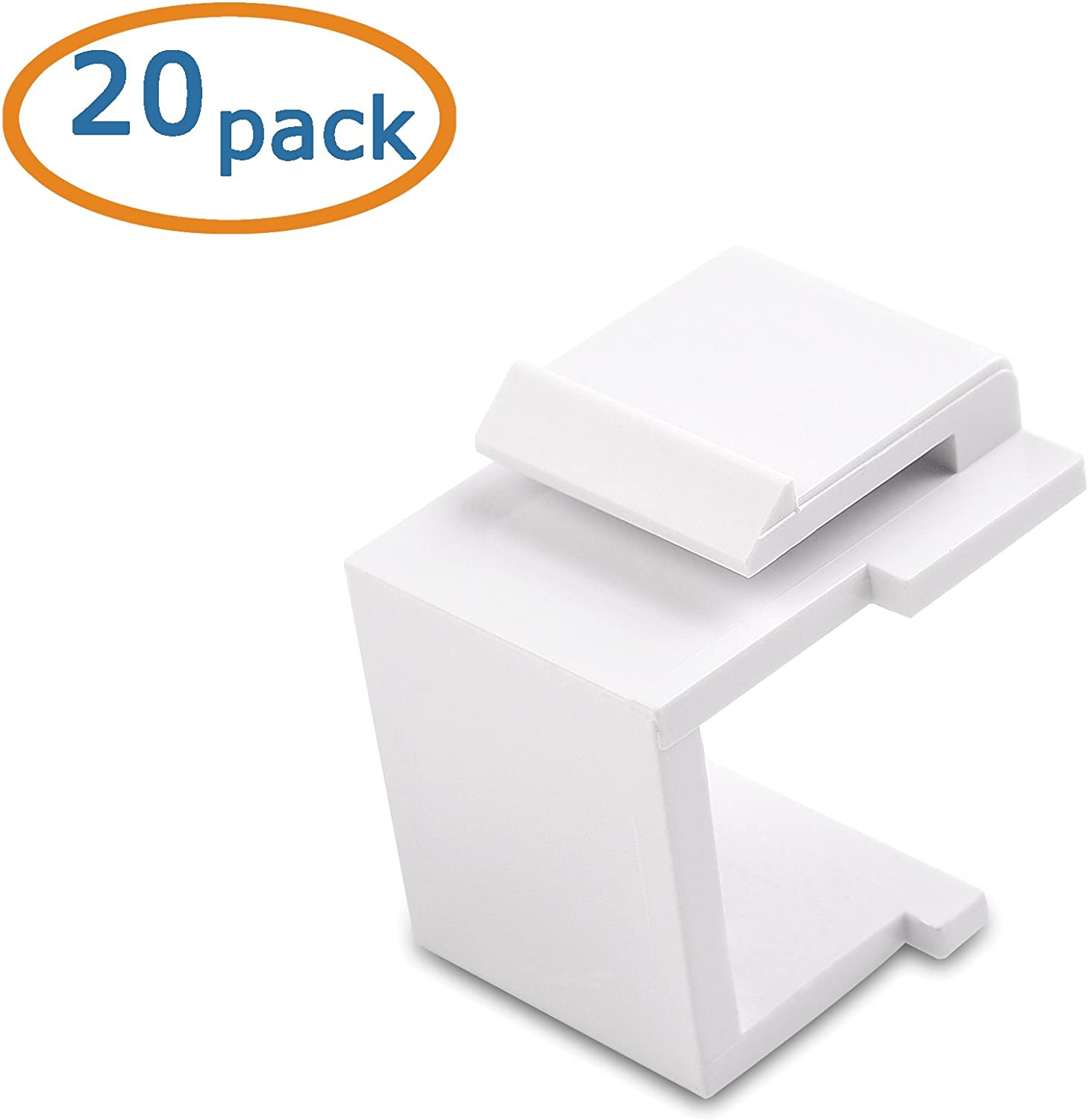 Cable Matters 20-Pack Blank Keystone Jack Inserts in White